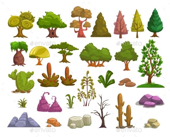 Cartoon Nature Landscape Elements - Flowers & Plants Nature