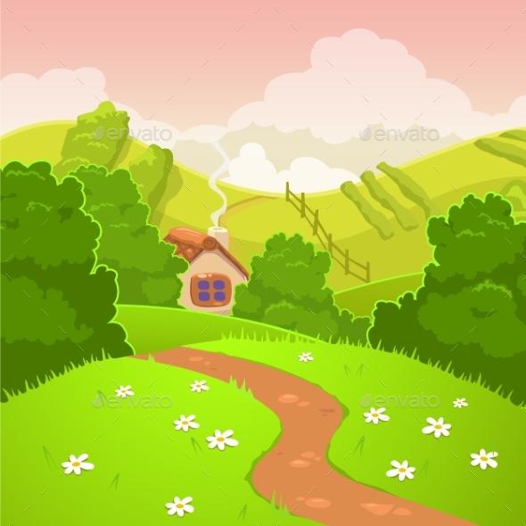 Cartoon Nature Country Landscape - Landscapes Nature