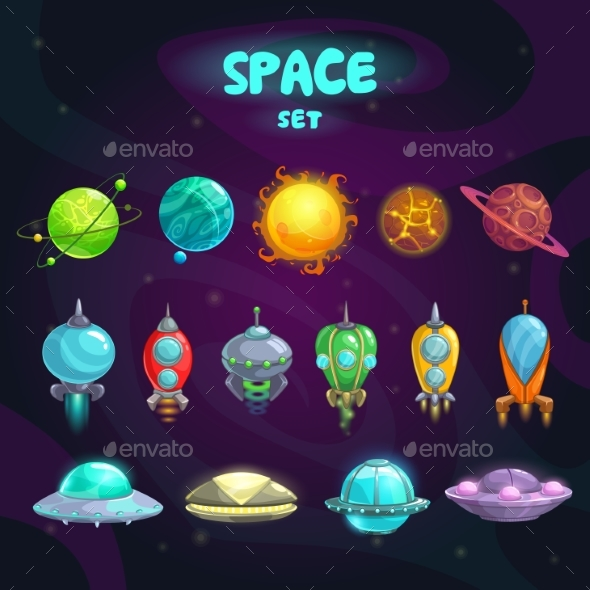 Space Cartoon Icons Set - Miscellaneous Conceptual