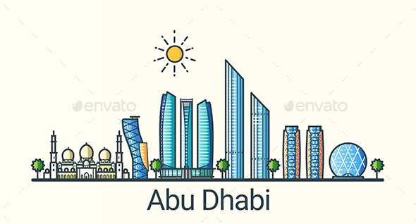 Line Flat Abu Dhabi Banner - Buildings Objects