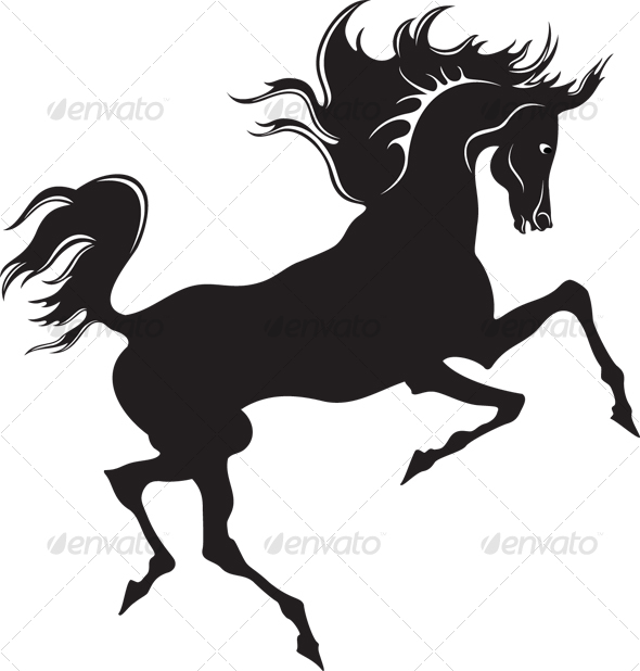 Silhouette of the black horse - Animals Illustrations