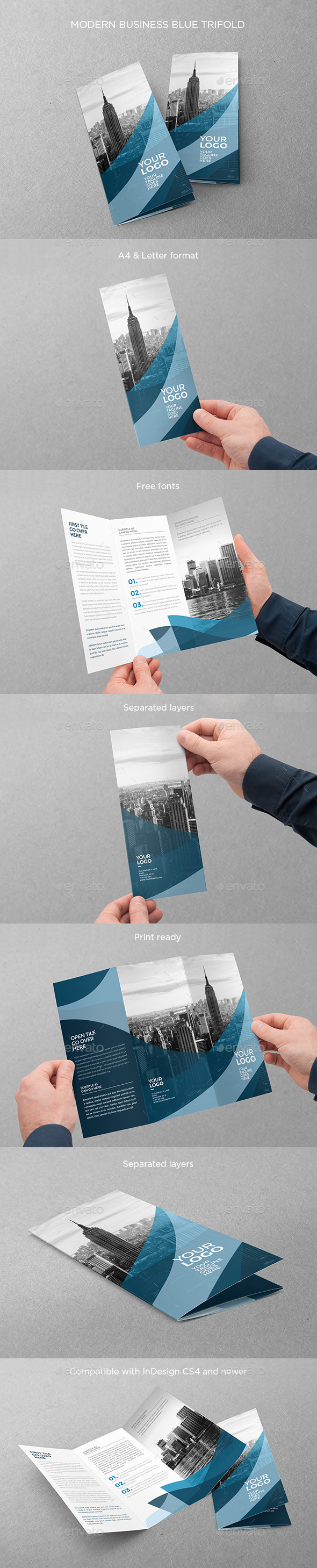 Modern Business Blue Trifold - Brochures Print Templates