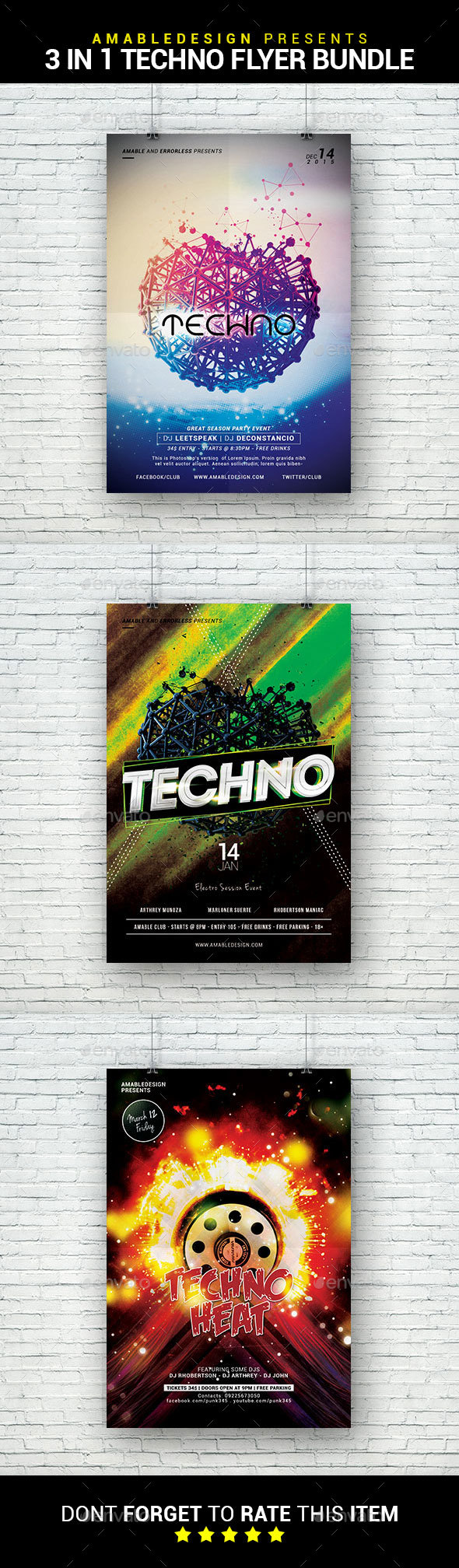 3 in 1 Techno Flyer/Poster Bundle - Clubs & Parties Events
