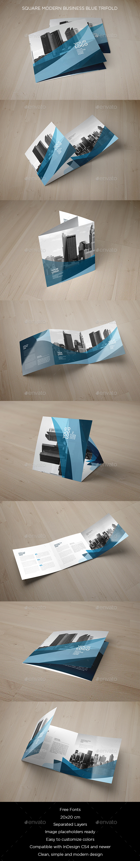 Square Modern Business Blue Trifold - Brochures Print Templates