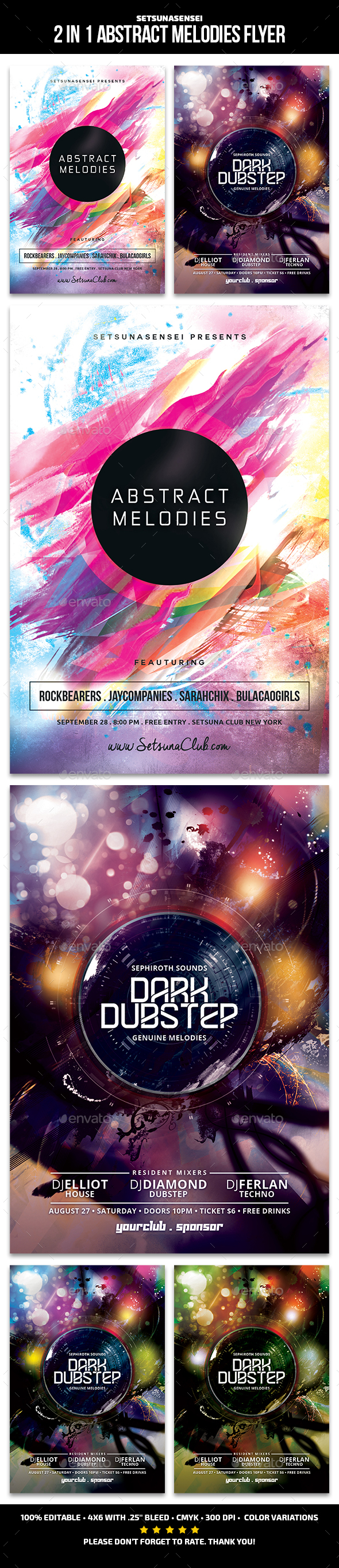 Abstract Melodies Flyer - Clubs & Parties Events