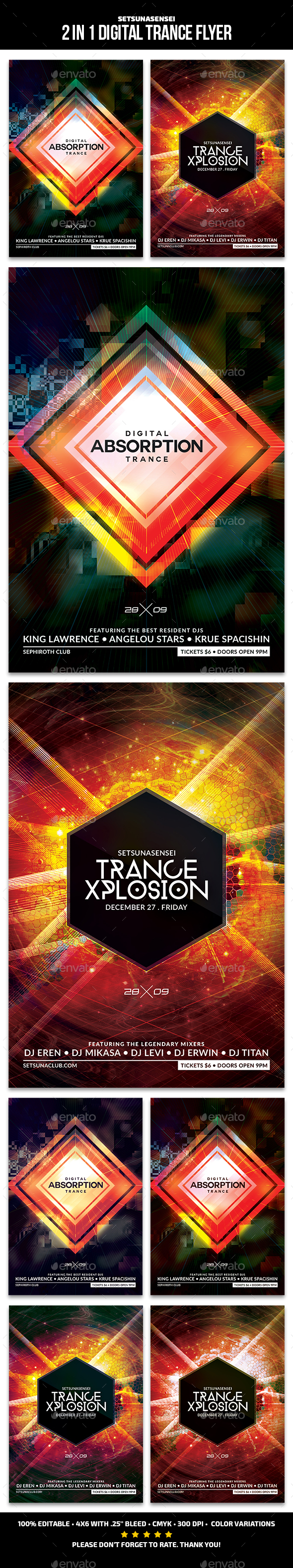 2 in 1 Digital Trance Flyer - Clubs & Parties Events