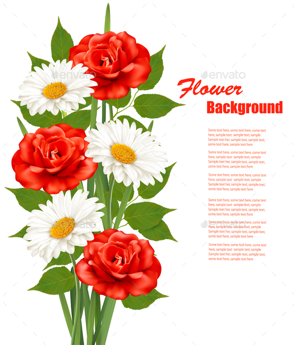 Flower Background With White Daisy And Red Roses Vector - Flowers & Plants Nature