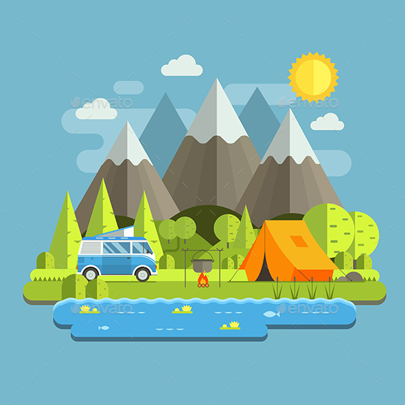 Camping Travel Landscape in Flat Style - Travel Conceptual