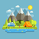 Camping Travel Landscape in Flat Style - GraphicRiver Item for Sale