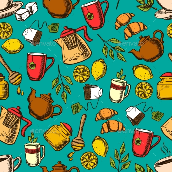 Herbal Tea Seamless Pattern Background - Backgrounds Decorative