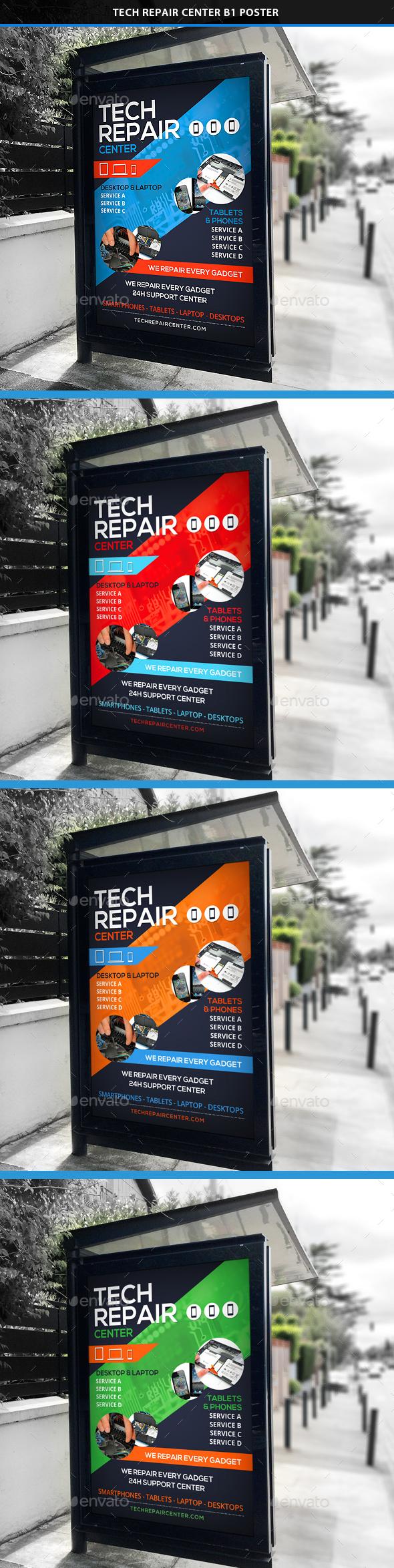 Tech Repair Center Signage B1 Poster - Signage Print Templates