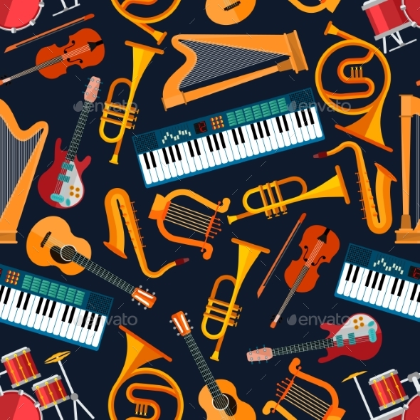 Musical Seamless Pattern With Instruments - Patterns Decorative