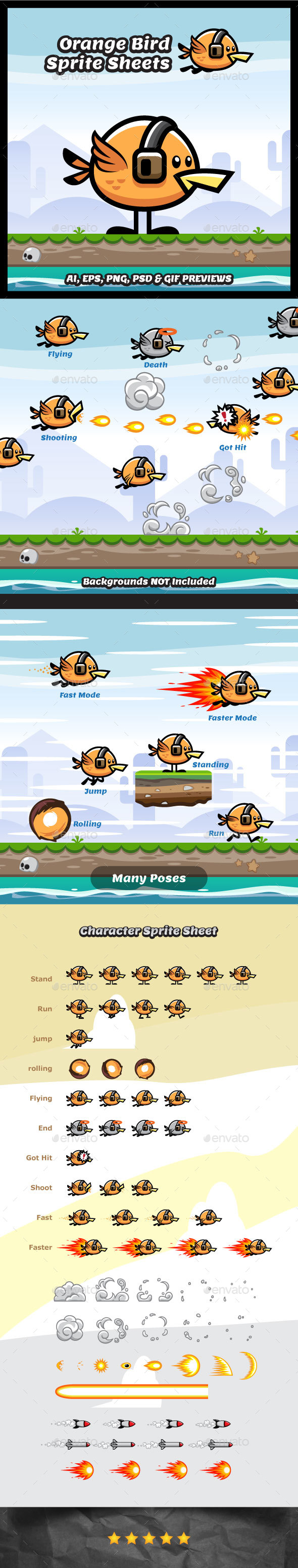 Orange Flying Bird Game Character - Sprites Game Assets