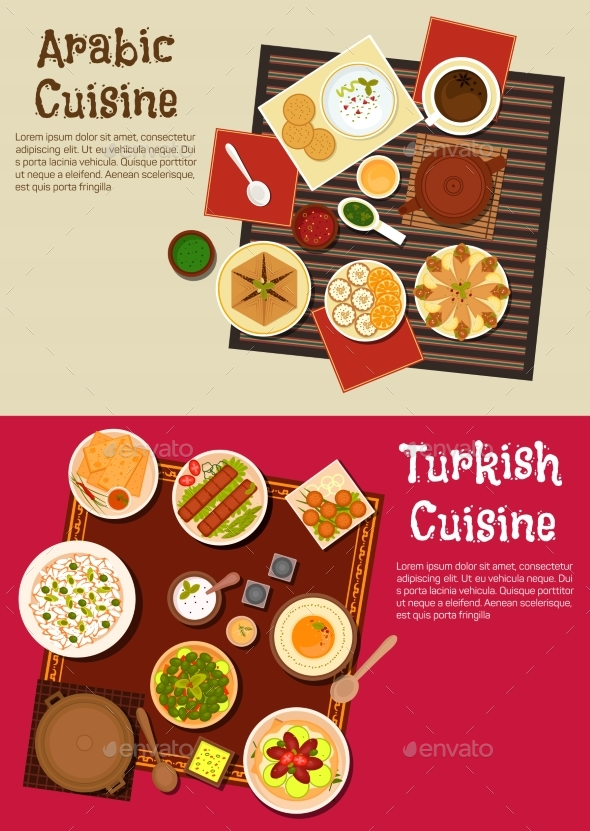 Arabian And Turkish Cuisine Dishes - Food Objects