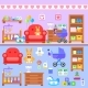 Baby Firl Room With Furniture. Nursery Interior.  - GraphicRiver Item for Sale