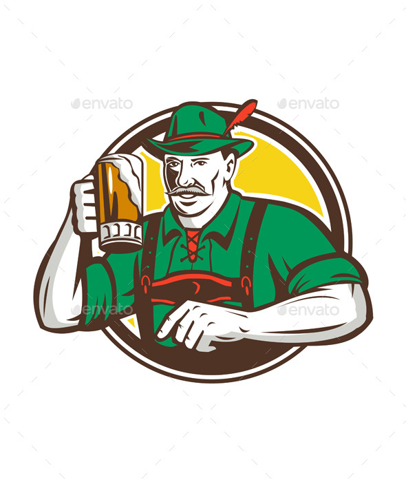 Oktoberfest Bavarian Beer Drinker Circle Retro - People Characters