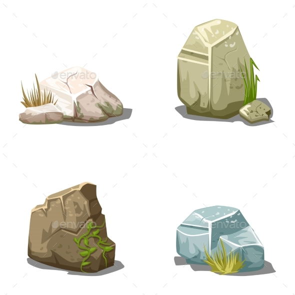 Set Of Cartoon Vector Stones  - Flowers & Plants Nature
