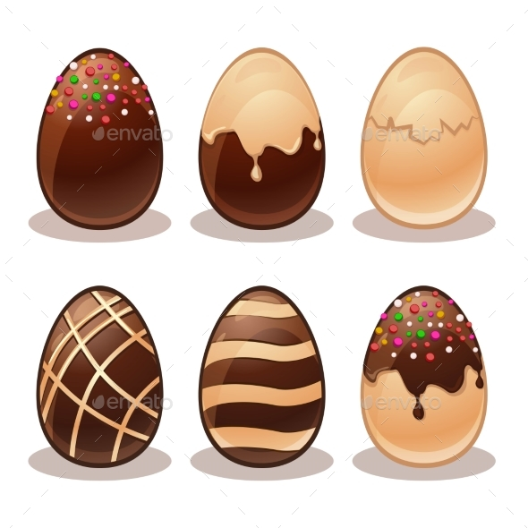 Happy Easter-Ferrous And White Chocolate Eggs - Decorative Symbols Decorative