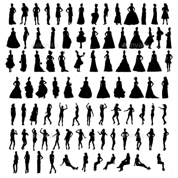 Silhouettes of Women - People Characters