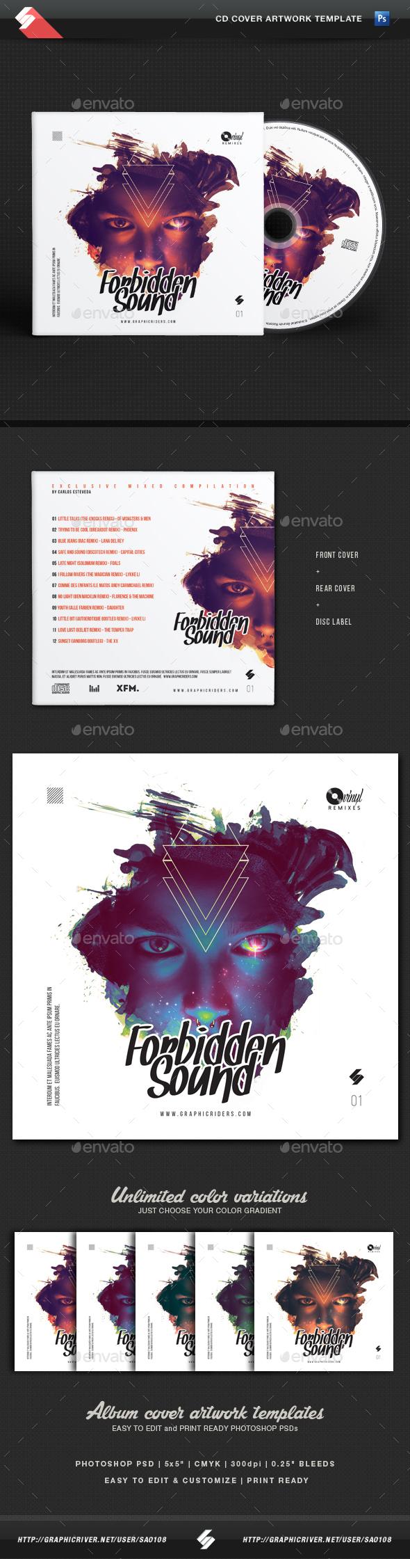 Forbidden Sound - CD Cover Artwork Template - CD & DVD Artwork Print Templates