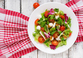 Dietary salad with tomatoes, mozzarella lettuce with honey-mustard dressing. Top view - PhotoDune Item for Sale