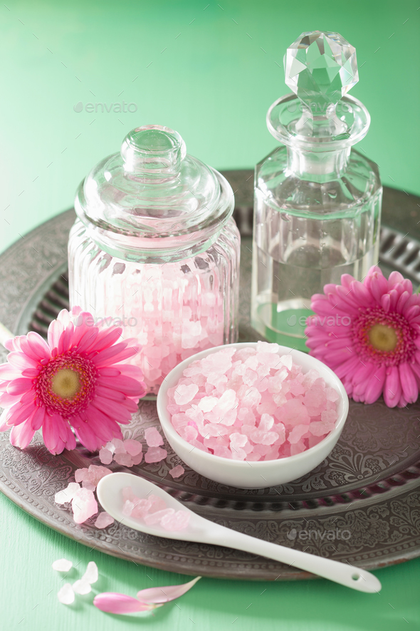 spa aromatherapy with pink salt gerbera flowers - Stock Photo - Images