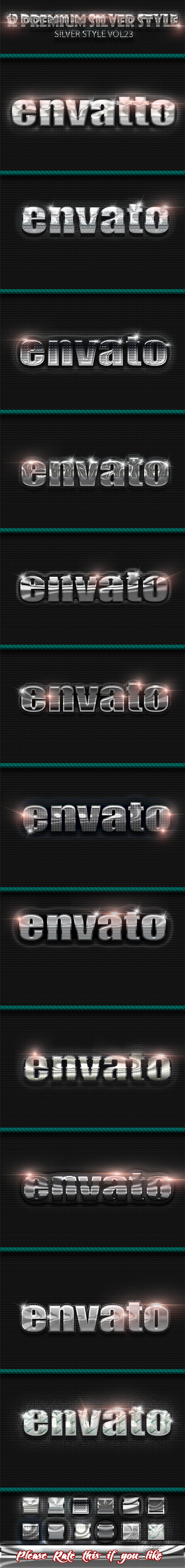 12 Photoshop SILVER Text Effect Styles Vol 23 - Text Effects Styles