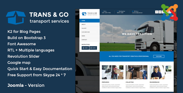 TransGo - Transport & Logistics Joomla Template - Business Corporate