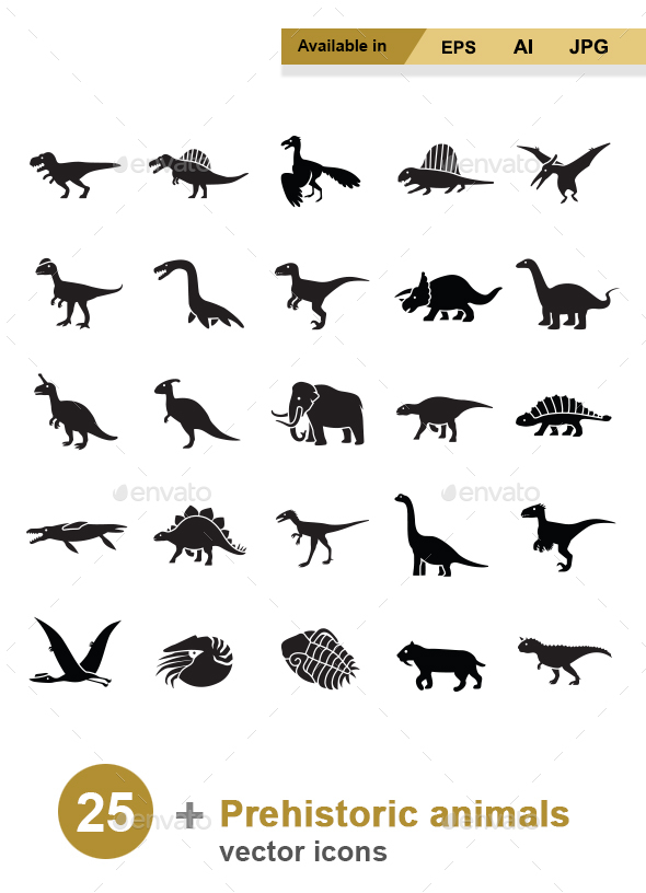 Prehistoric Animals vector icons - Animals Characters