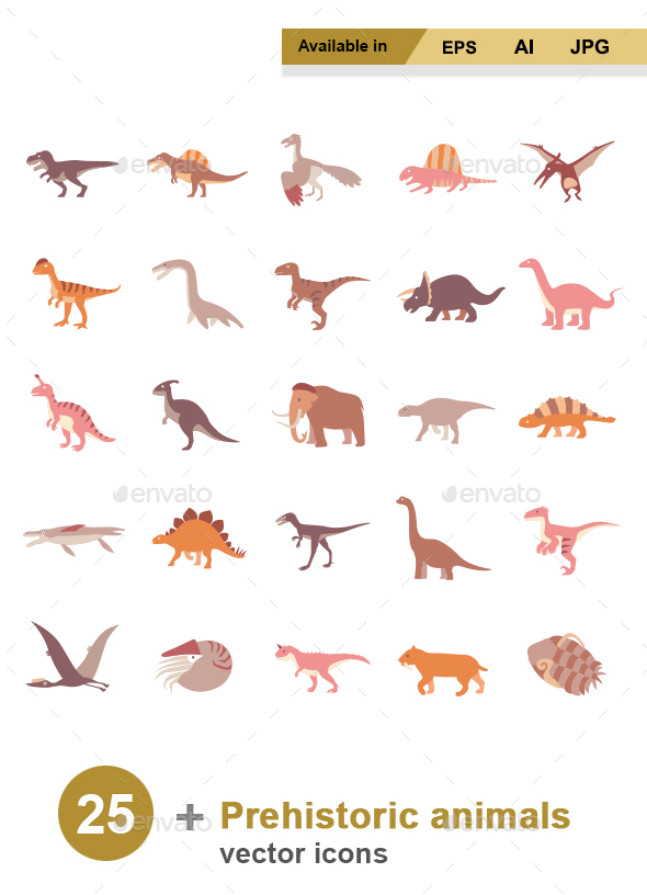 Prehistoric Animals Color vector icons - Animals Characters