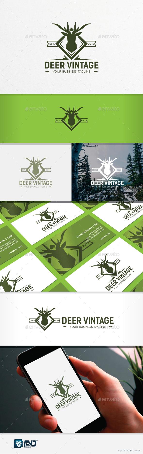 Deer Vintage - Symbols Logo Templates