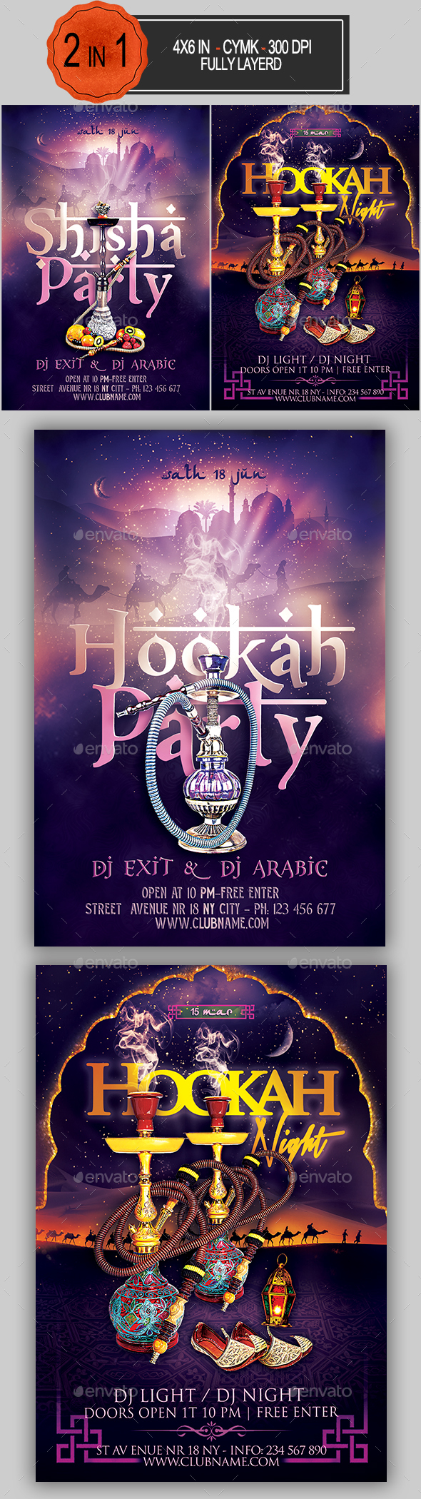Hookah Flyer Bundle - Clubs & Parties Events