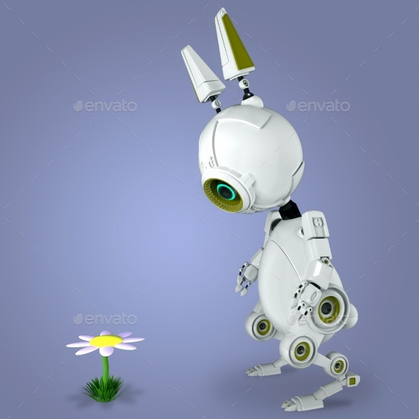 White Robot Rabbit - Characters 3D Renders