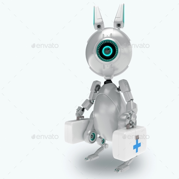 Robot Offers Medical Help - Characters 3D Renders