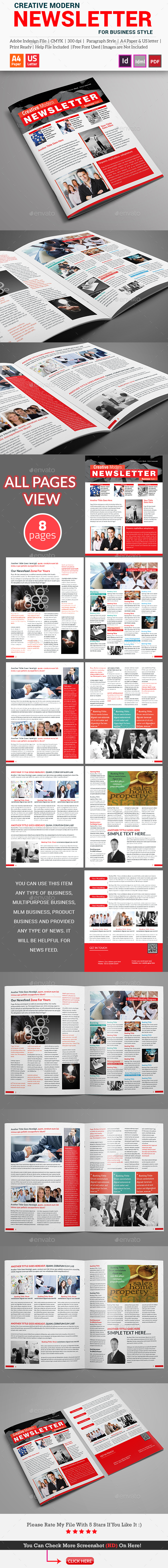 Creative Modern Newsletter (For Business Style) - Newsletters Print Templates