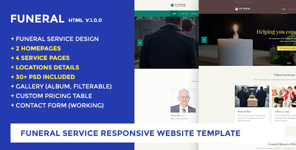 Funeral Service Website Template - Funeral Caring Home