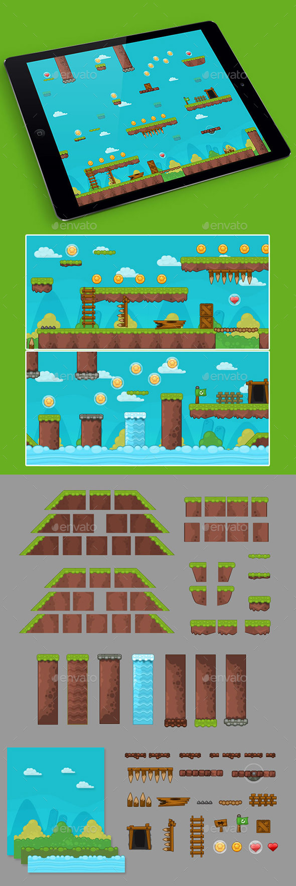 2D Grass Game Platformer Tilesets  - Tilesets Game Assets