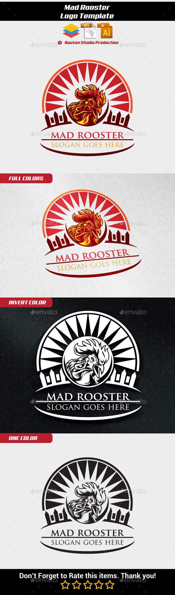 Mad Rooster - Animals Logo Templates