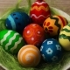 Easter Eggs In a Plate On a Light Wooden Background - VideoHive Item for Sale