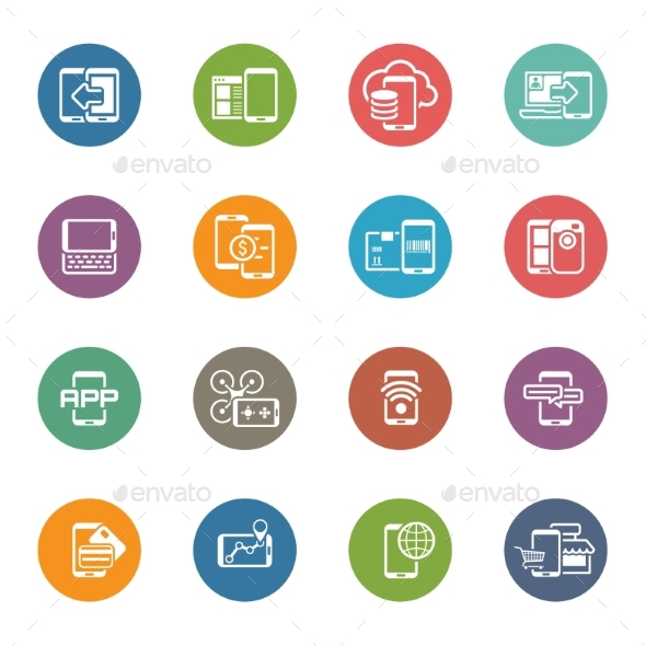 Flat Design Mobile Devices And Services Icons Set. - Technology Icons