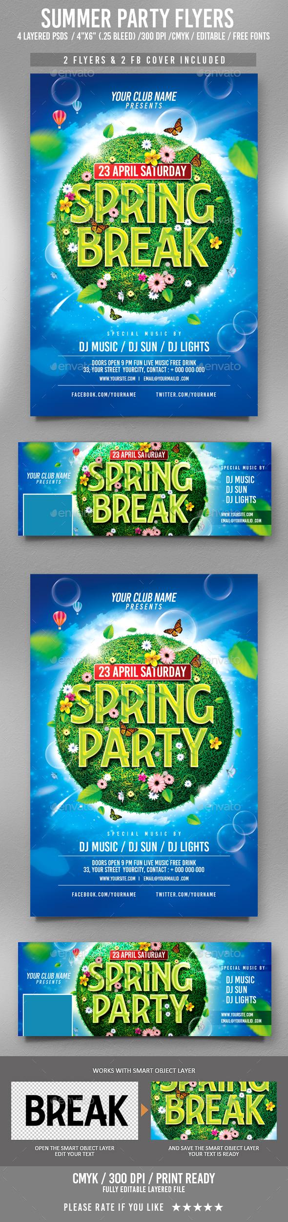 Spring Break Flyer - Clubs & Parties Events