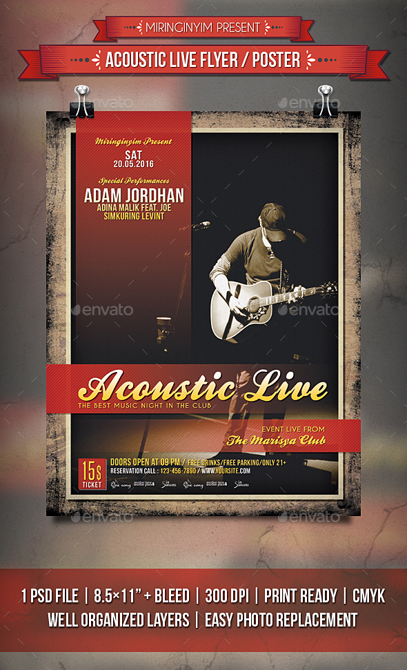 Acoustic Live Flyer / Poster - Events Flyers