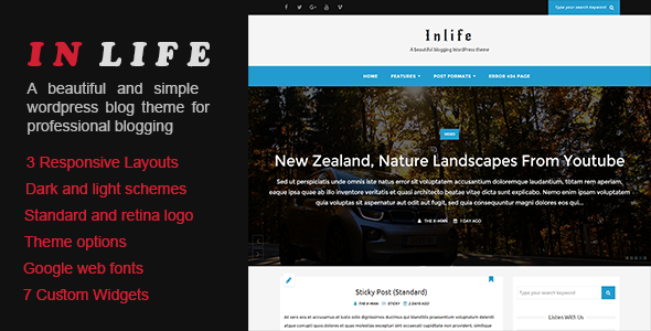 InLife - A Beautiful Blogging WordPress Theme