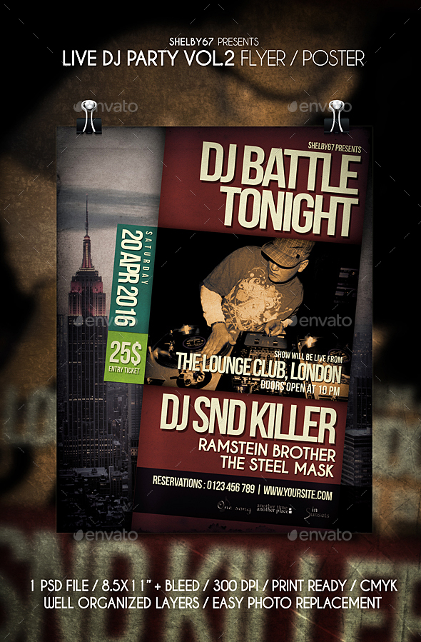 Live DJ Party Flyer / Poster Vol 2 - Clubs & Parties Events