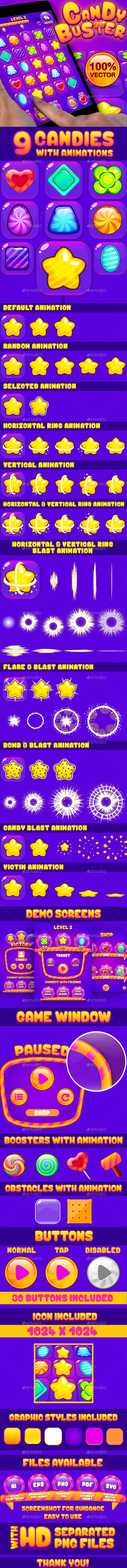 Candy Buster: Match-3 Puzzle Game UI Pack - Game Kits Game Assets