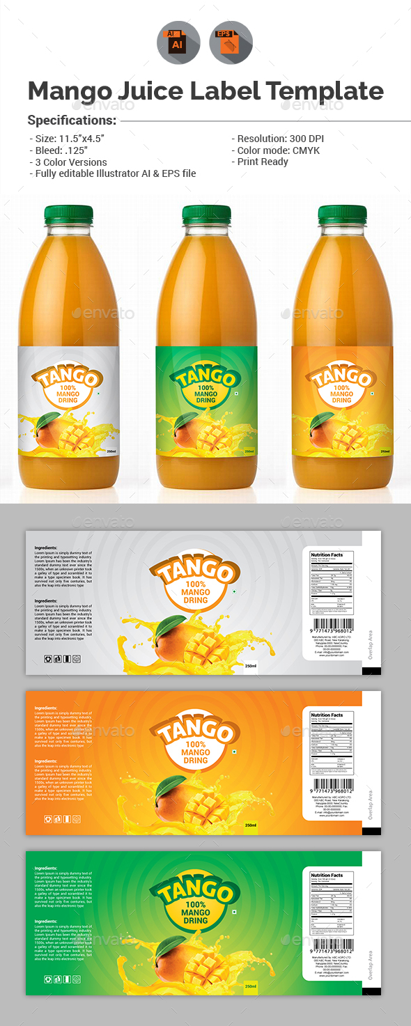 Mango Juice Label Template   Packaging Print Templates