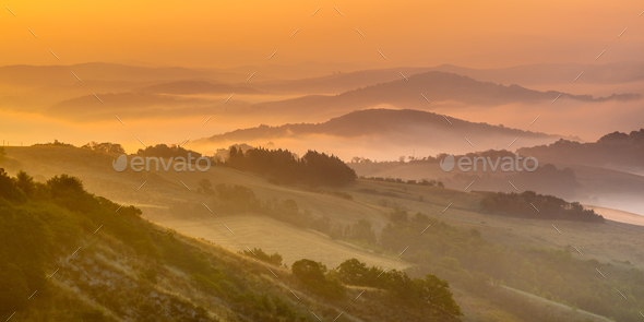 Rolling hill Landscape in Tuscany - Stock Photo - Images