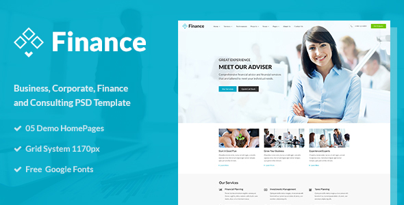 Finance - Business and Finance Corporate PSD Template - Business Corporate