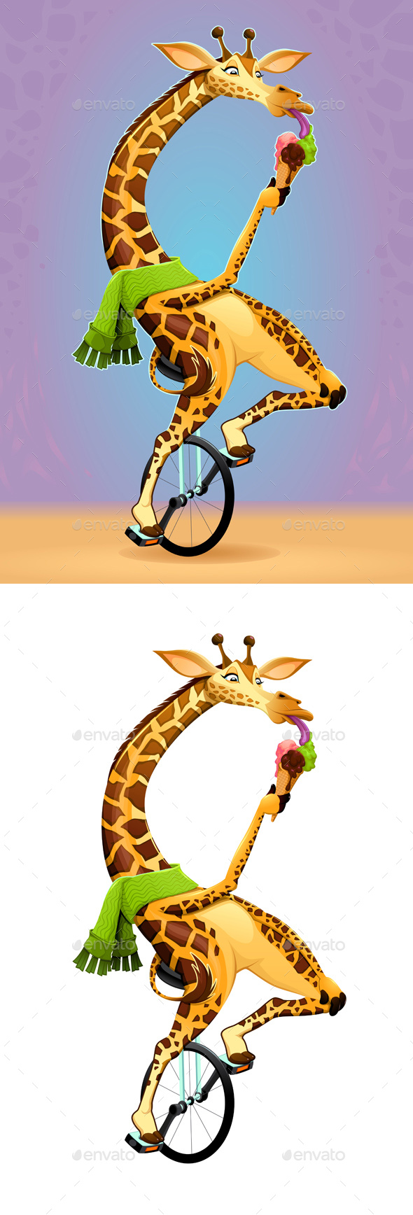 Giraffe on an Unicycle by ddraw | GraphicRiver