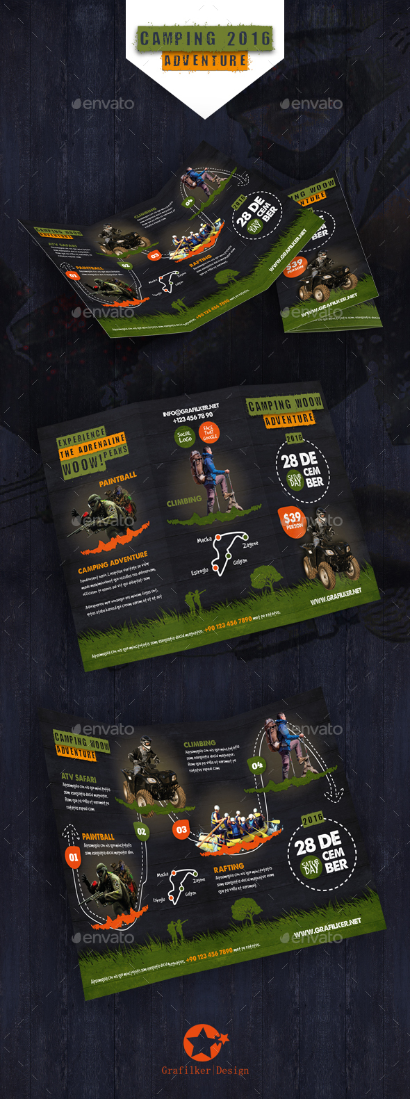 Camping Adventure Tri-Fold Templates - Informational Brochures